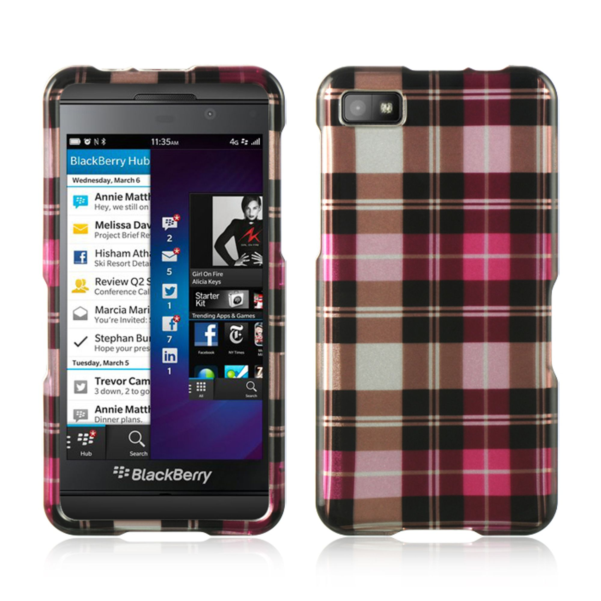 Insten Hard Rubber Coated Case For BlackBerry Z10 - Pink/Brown