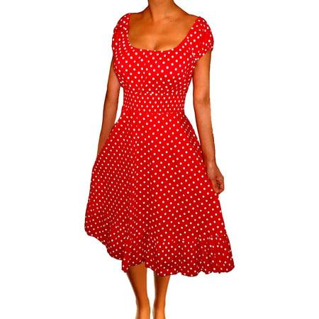 Funfash Plus Size Clothing for Women Polka Dots Rockabilly Retro Cocktail Dress (Plus Size Rockabilly Dresses)