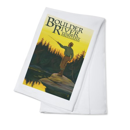 Boulder River, Montana - Fly Fishing Scene - Lantern Press Poster (100%  Cotton Kitchen Towel)