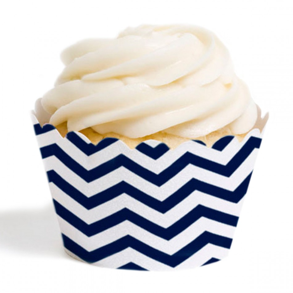 Dress My Cupcake Standard Cupcake Wrappers, Chevron, Navy Blue, Set of 12