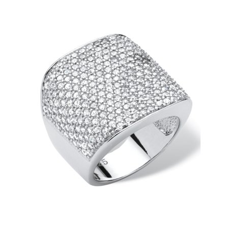 Sterling Silver Pave Dome - 3.75 TCW Round Cubic Zirconia Platinum over Sterling Silver Pave Dome Ring