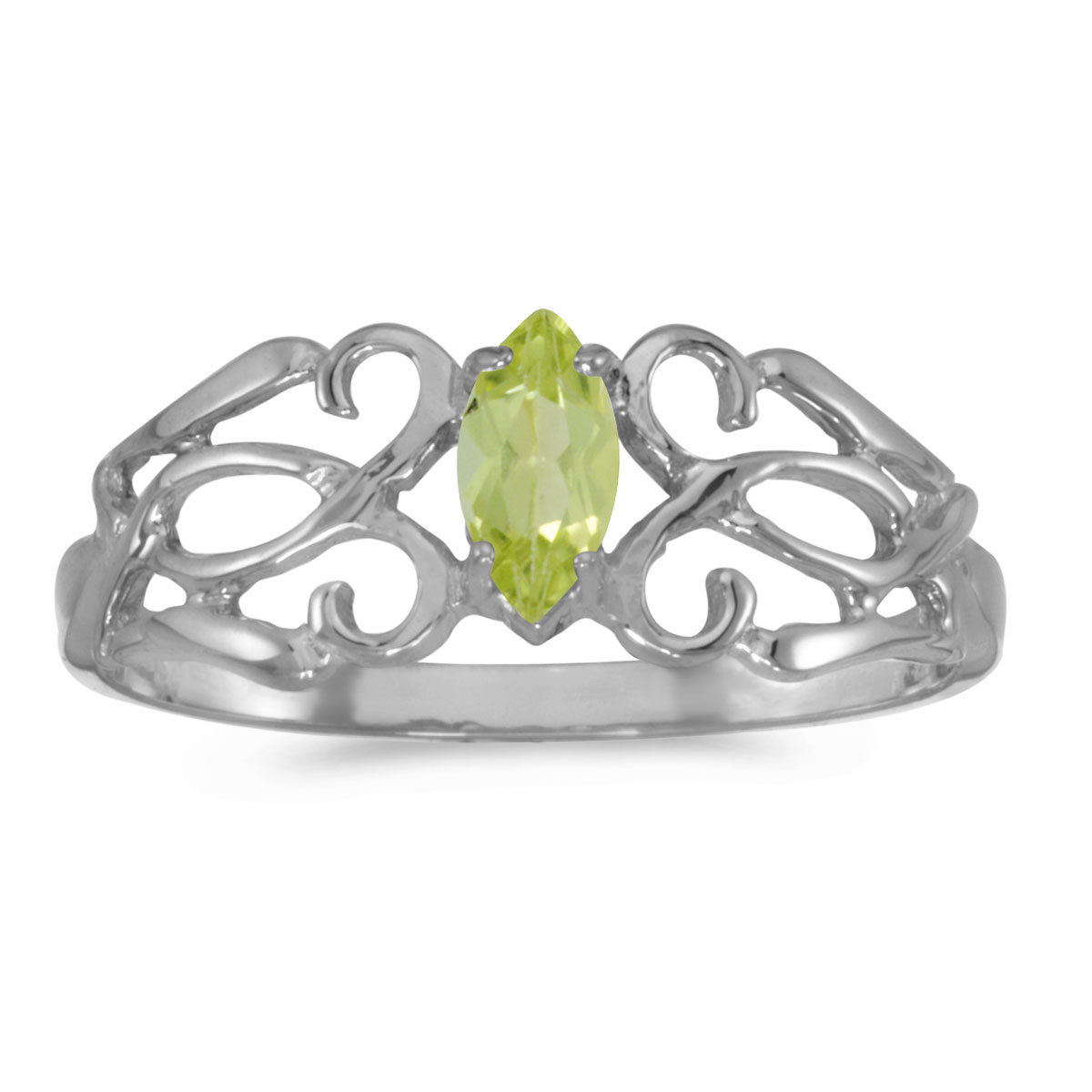 10k White Gold Marquise Peridot filigree Ring by
