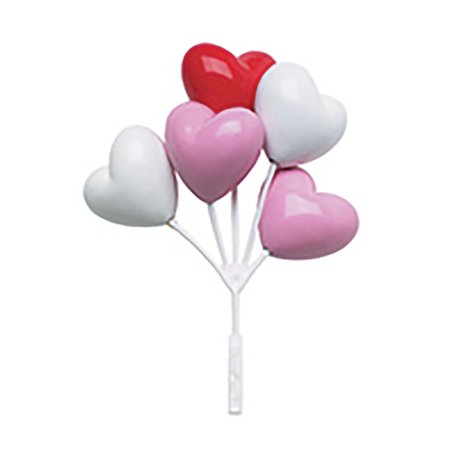 Valentine's Red, White, Pink Heart Shaped Balloon Clusters for Cakes or Cupcakes - 4 Count - Red And White Halloween Cake