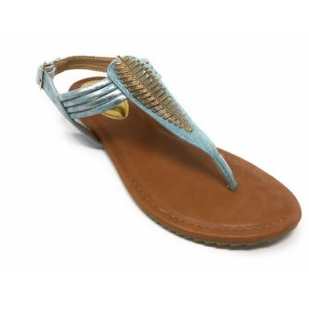 Victoria K Women's Gold Feather Metallic Sandals
