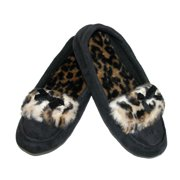 totes ISOTONER  Womens Microsuede Cheetah Trim Moccasin Slippers,