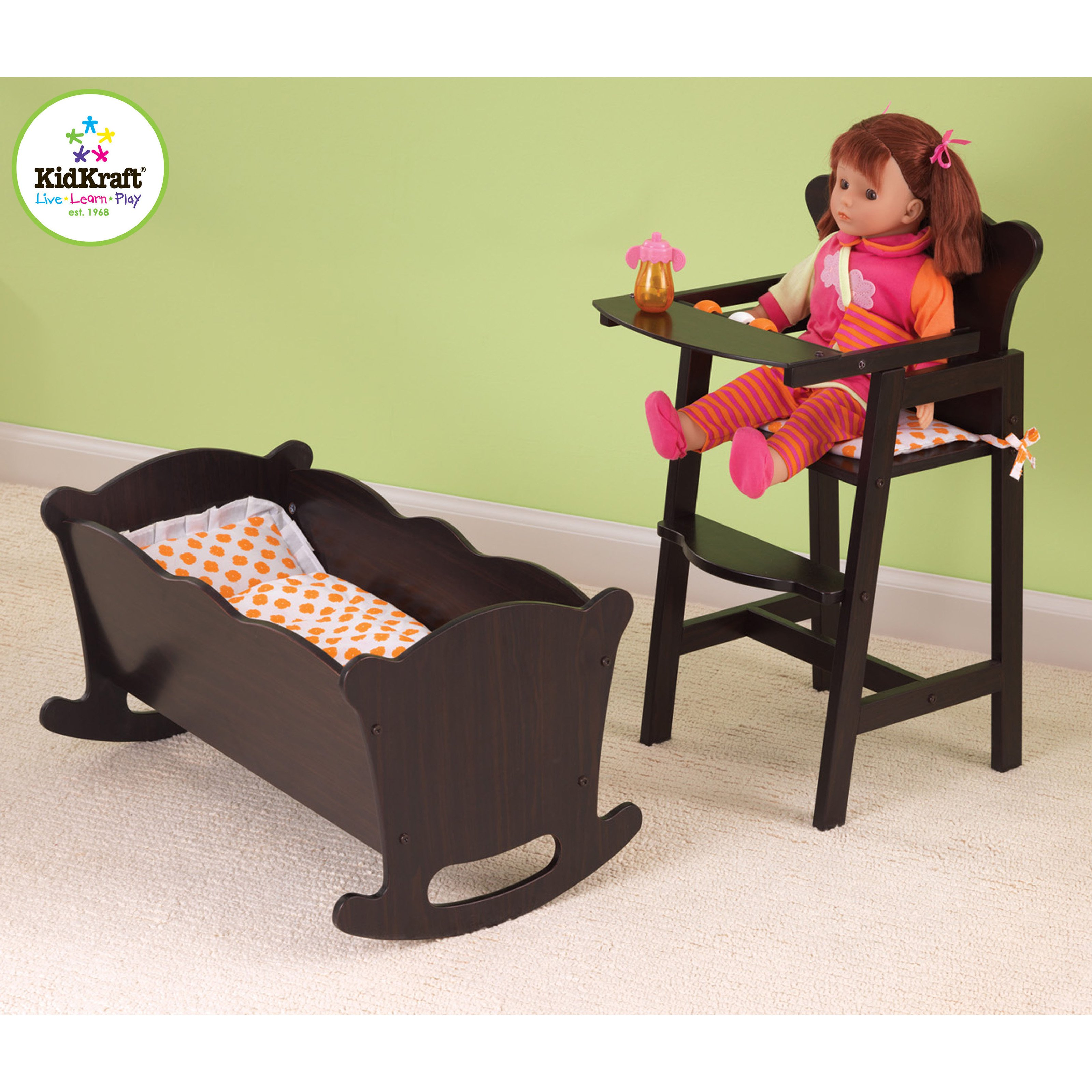 KidKraft Lil Doll High Chair   Espresso   60126