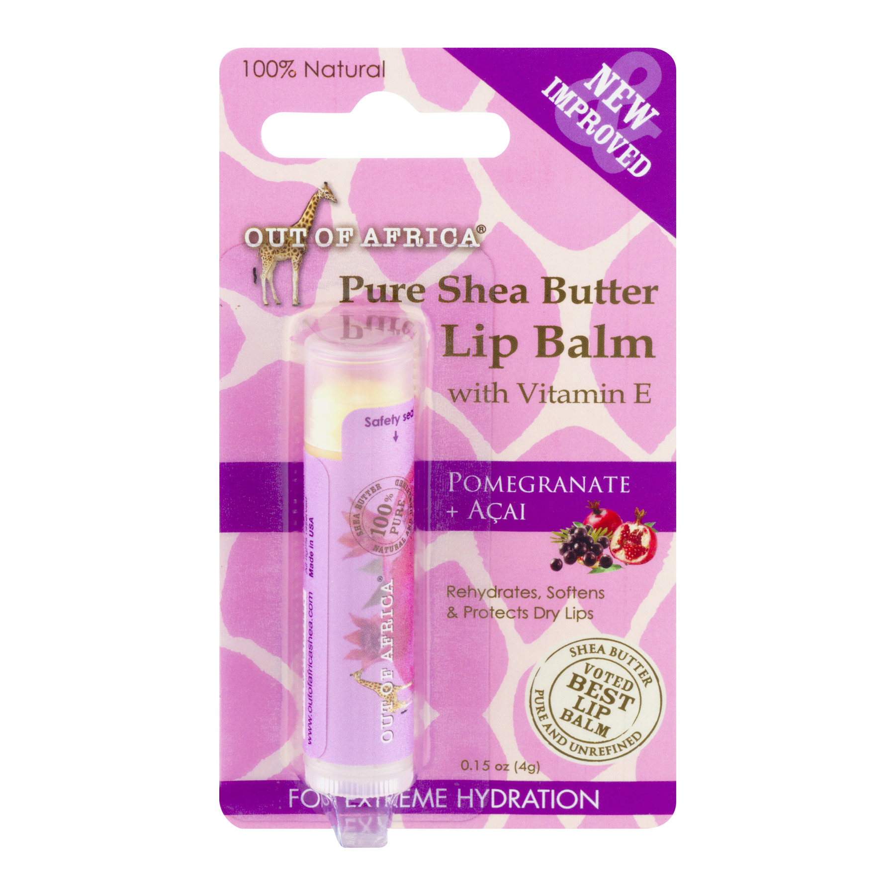 Out Of Africa - Pure Shea Butter Lip Balm Pomegranate + Acai - 0.15 oz.