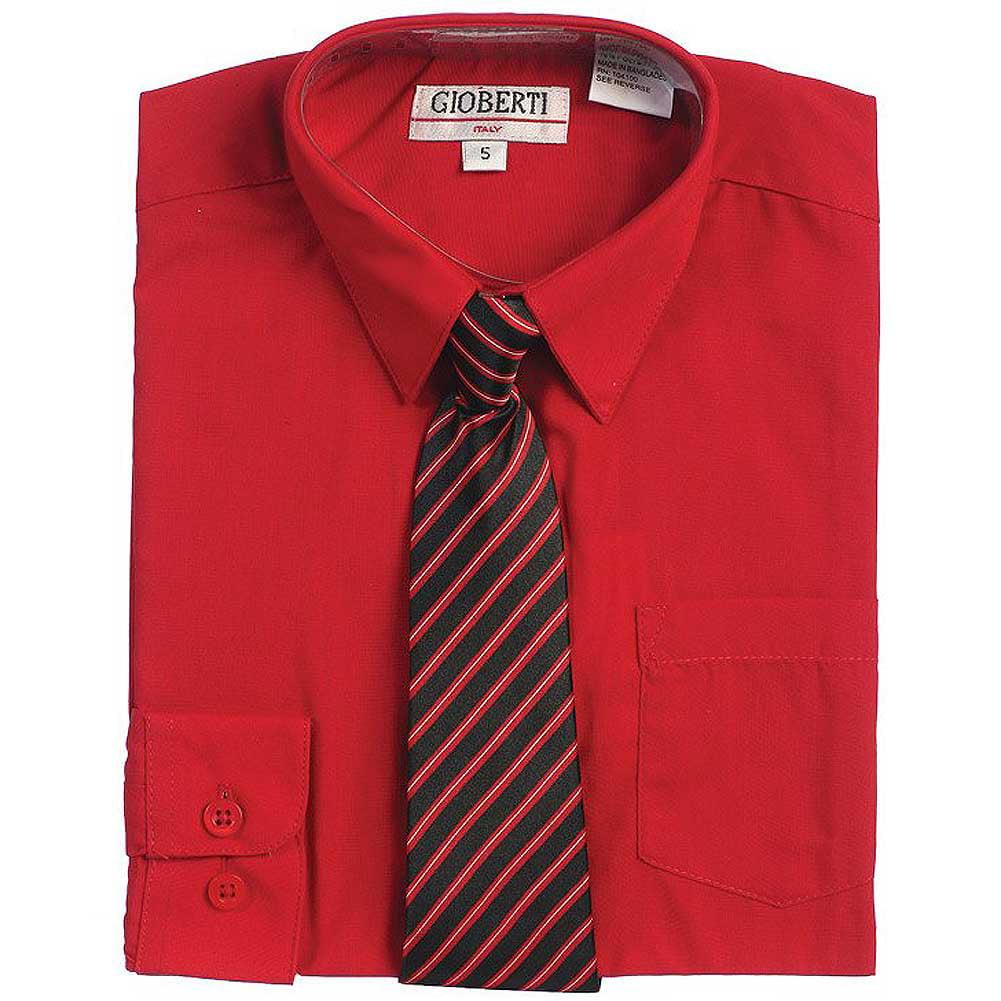 Red Button Up Dress Shirt Black Striped Tie Set Toddler Boys 2T-4T