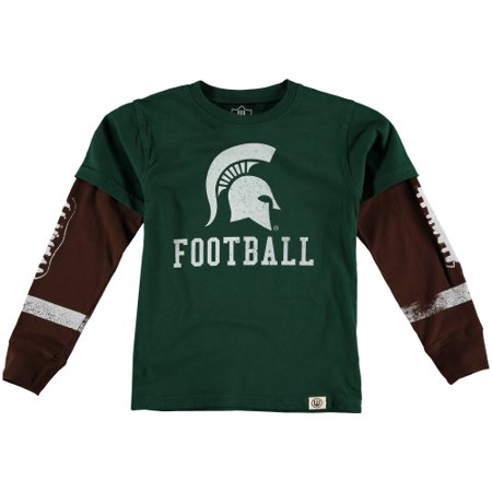 Michigan State Spartans Wes & Willy Preschool Football Fooler Long Sleeve T-Shirt - (Wes And Willy Boys Clothing)