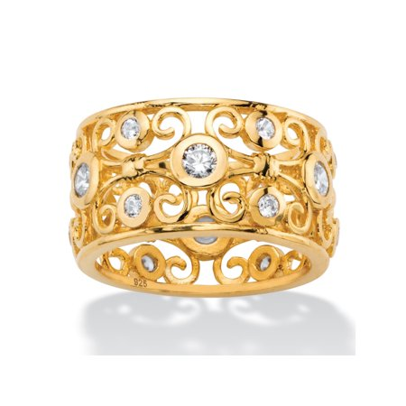 Gold Embassy Scroll (3.60 TCW Round White Cubic Zirconia Scroll Eternity Ring in 18k Gold over Sterling)