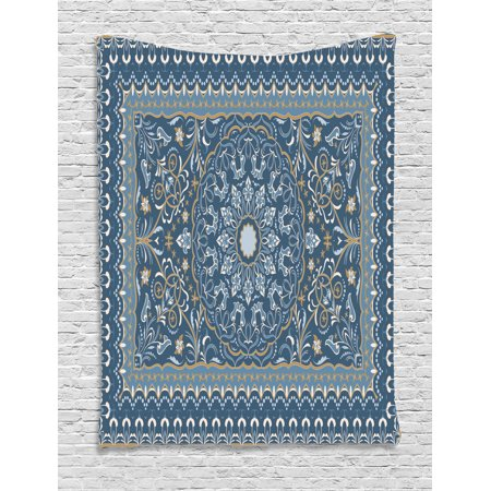Antique Oriental Tapestry, Intricate Eastern Floral Persian Like Motif, Wall Hanging for Bedroom Living Room Dorm Decor, Grey Teal Blue Grey and Dark Sand Brown, by Ambesonne ()