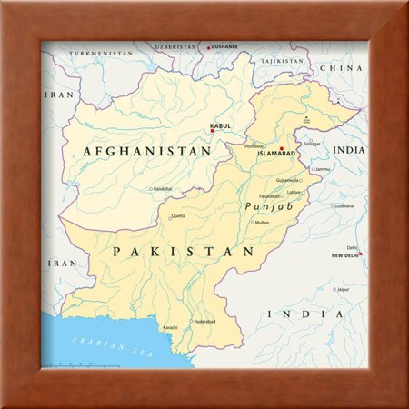 Afghanistan and Pakistan Political Map Framed Print Wall Art By Peter  Hermes Furian