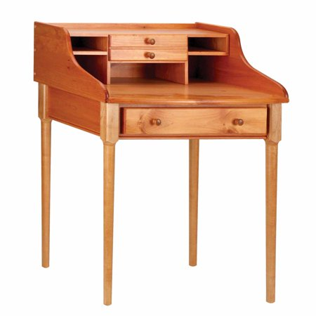 Office Secretary Desk Heirloom Pine Large Main Drawer and Small Cubby Shelves ()
