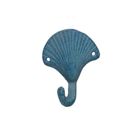 Seashell Four Light - Light Blue Whitewashed Cast Iron Seashell Hook 4