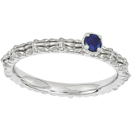 Created Sapphire Sterling Silver Single-Stone Ring ()