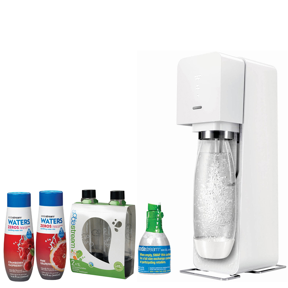 SodaStream Source Home Soda Maker Starter Kit, White, 1L Carbonating Bottles Black, Waters Zeros w/ 2 flavor Pink Grapefruit & Cranberry Raspberry zero calorie