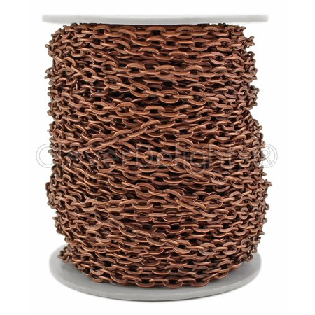 CleverDelights Cable Chain Spool - 30 Feet - Antique Copper Color - 4x6mm Link