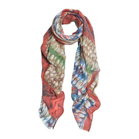 Elegant Multi Color Feather Print Frayed Edge Fashion Scarf Shawl
