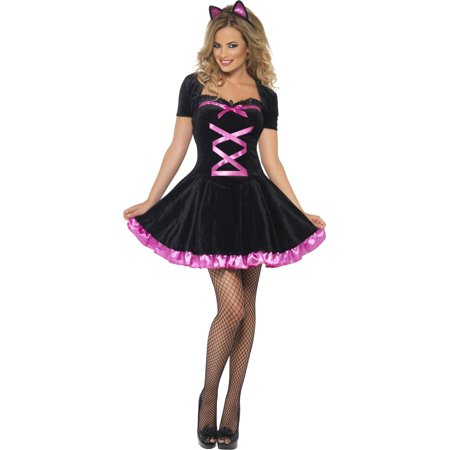 Smiffys Sexy Black Cat Dress Outfit Adult Halloween Costume