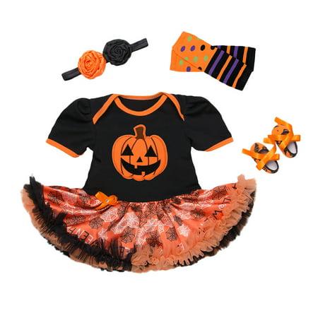 Newborn Baby Girl Kid My 1st Halloween Romper Headband Tutu Skirt Costume 3-18 M