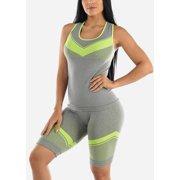 Women's Gym Sport Workout Yoga Activewear Green Trim Top & Shorts (2 PCE SET) 50105K