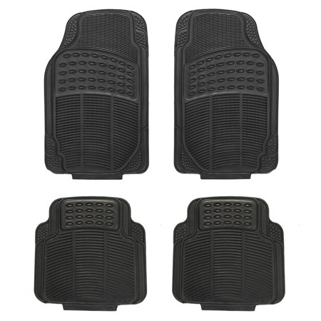 4-Piece Full Set Ridged Heavy Duty Rubber Floor Mats, Universal Fit Mat for Car, SUV, Van & Trucks, Front & Rear, Driver & Passenger Seat, (Best Driver Assist Suv)