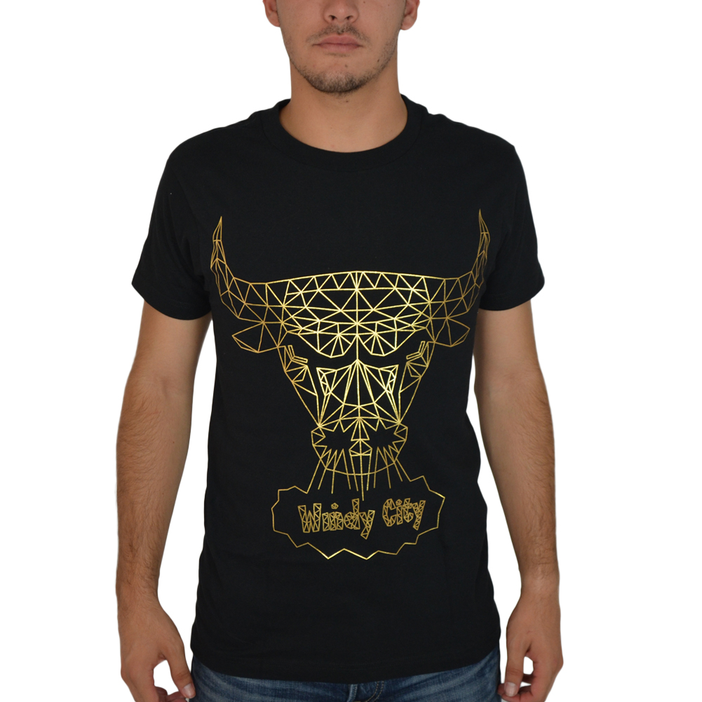 We Love Fine Gold Chicago Bulls Windy City Black Licensed T-shirt New Sizes S-L
