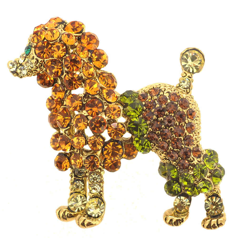 Topaz Poodle Crystal Animal Pin Brooch by