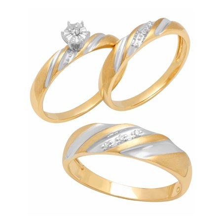 10K Gold Diamond Accent Trio Engagement Ring Bridal Set Womens and Mens Engagement Ring and Band Set Diamond Ladies Bridal Set
