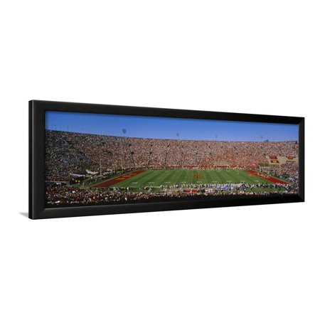 - High Angle View of a Football Stadium Full of Spectators, Los Angeles Memorial Coliseum Framed Print Wall Art