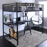 Manor Park Metal Full Size Loft Bed with Workstation - Black