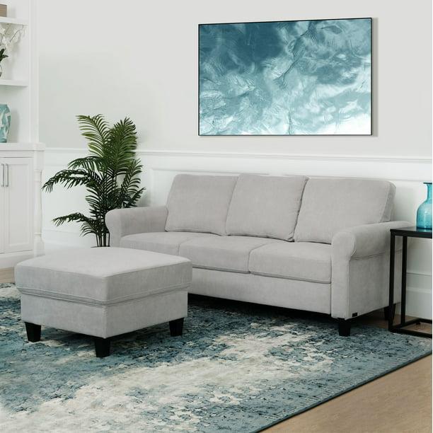 Devon & Claire Mila Fabric Sofa and Ottoman Set, Grey