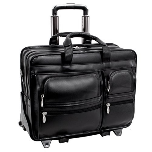 "Mcklein 17"" Clinton Leather 2-in-1 Removable-Wheeled Laptop Case 88445 - Black"