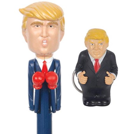 Donald Trump Talking Boxing Pen and Pooping Key Chain Keychain Gag Gift Bundle (Talking Parrot Keychain)