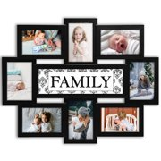 Photo Frame 22x17 Wood Tone Family Picture Frame Selfie Gallery Collage Wall Hanging For 6x4 Photo - 8 Photo Sockets - Wall Mounting Design
