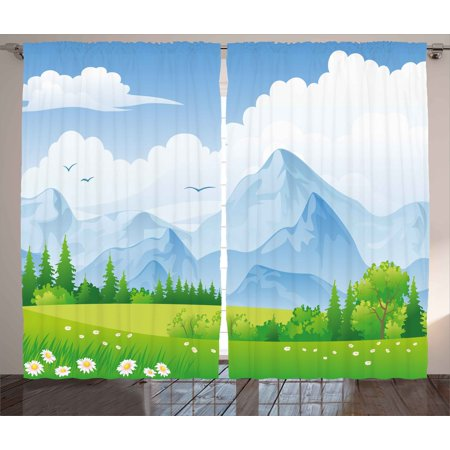 Nature Curtains 2 Panels Set  Summer Meadow With Daisy Flower Field With Mountain Happy Eco Landscape  Window Drapes For Living Room Bedroom  108W X 90L Inches  Lime Green Light Blue  By Ambesonne
