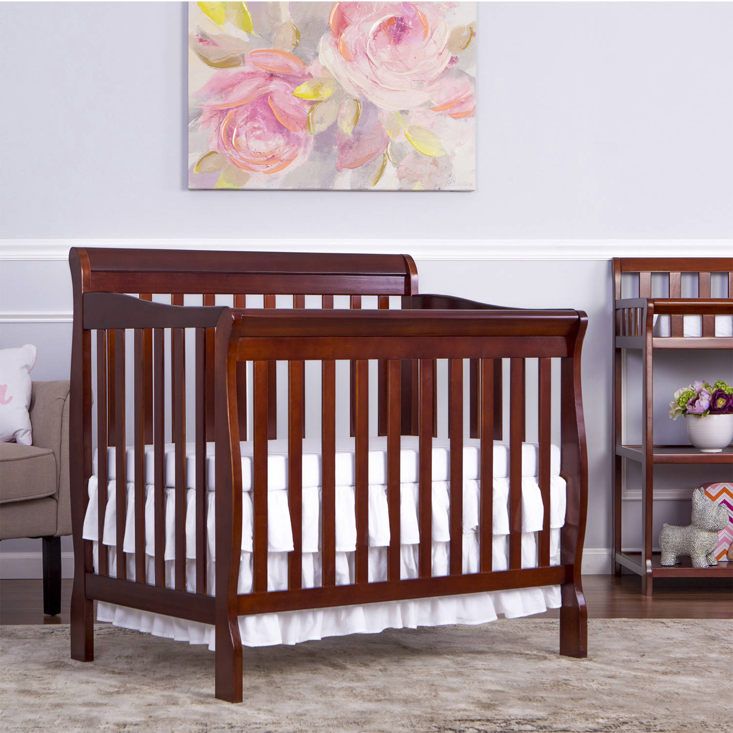 Dream On Me Aden 4-in-1 Fixed-Side Convertible Mini Crib, Choose Your Finish