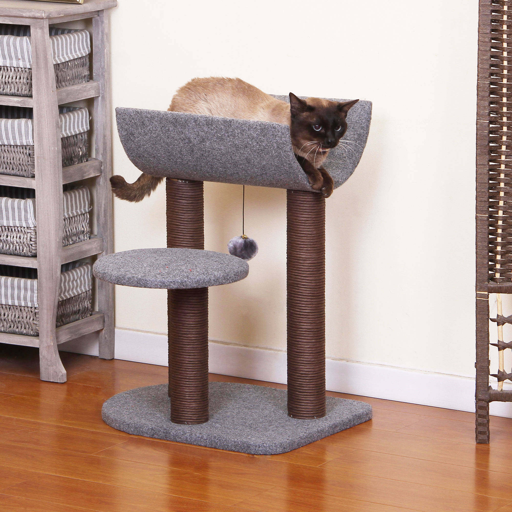 PetPals Group Cradle Chocolate and Grey Color Cat Tree with Curved Napping Perch by PetPals Group Inc