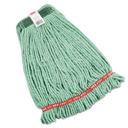 Rubbermaid Commercial Web Foot Wet Mop Heads, Shrinkless, Cotton/Synthetic, Green, Medium