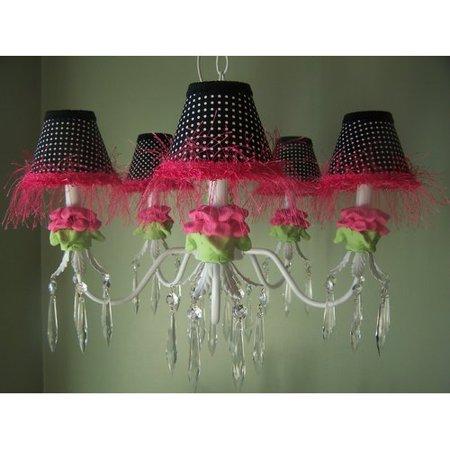 Silly Bear Lighting Hot Pink And Black Flower 5 Light Chandelier