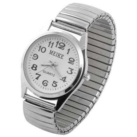 Silver Yellow Wrist Watch - Women Ladies Metal Elastic Band Arabic Numeral Dial Wrist Watch Silver Tone