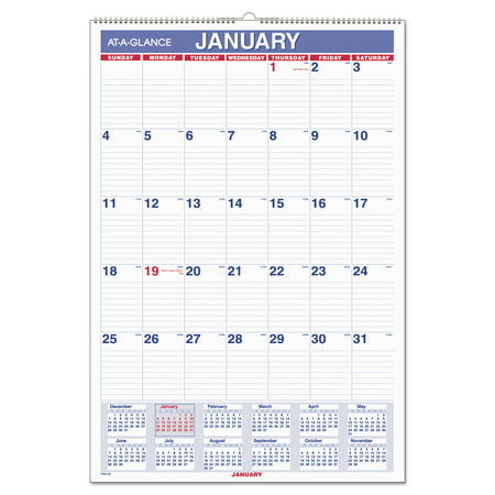AT-A-GLANCE Monthly Wall Calendar with Ruled Daily Blocks, 15 1/2