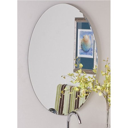 Decor Wonderland Frameless Oval Scallop Beveled Mirror - Clear -