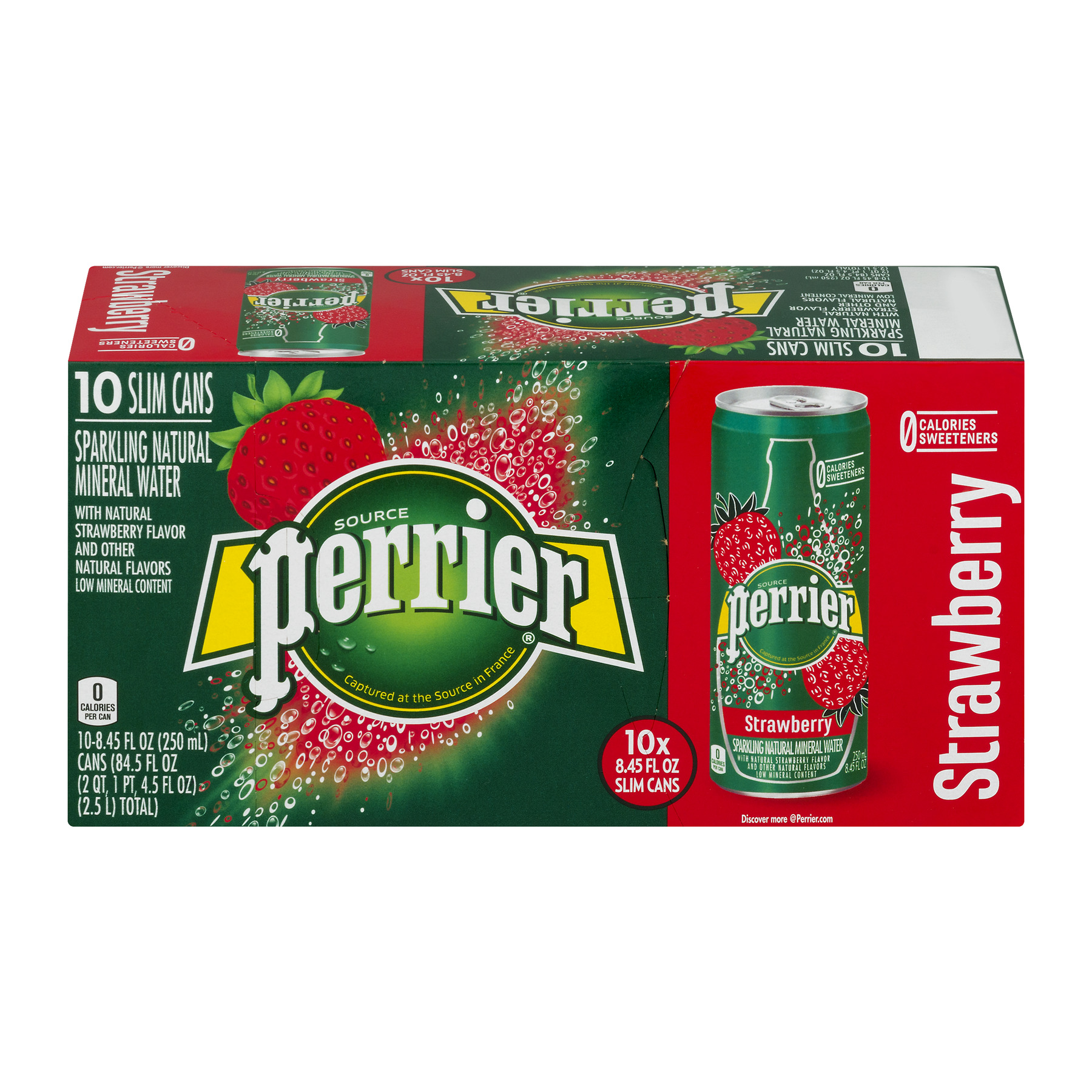 Perrier Sparkling Natural Mineral Water, Strawberry, 8.4 Fl Oz, 10 Count