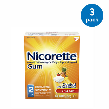 Nicorette Nicotine Gum, Stop Smoking Aid, 2 mg, Fruit Chill Flavor, 100 count