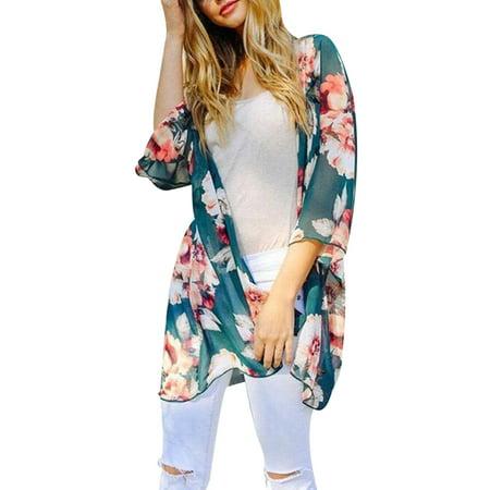Printed Long Sleeve Coat (Utowu Women Leopard Print Kimono Coats Long Sleeve Cardigan Jacket Beach Cover Up)