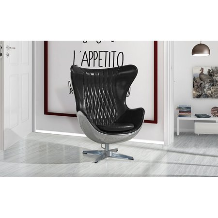 Egg Chair Accent Chairs.Swivel Egg Chair In Leather Accent Lounge Chairs With Reclining And Tilt Lock Mechanism Black