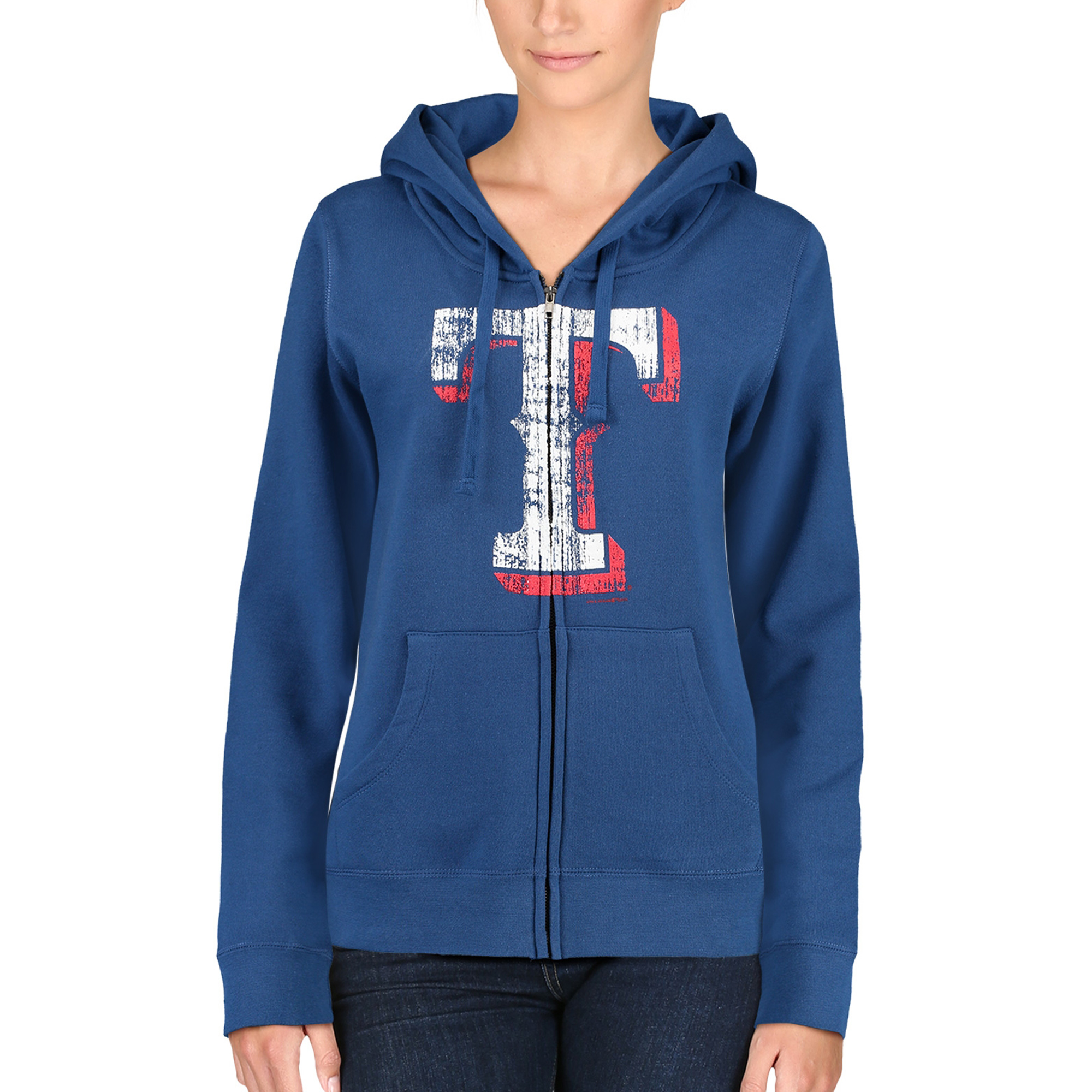 Texas Rangers 5th & Ocean by New Era Women's Core Fleece Hoodie - Blue