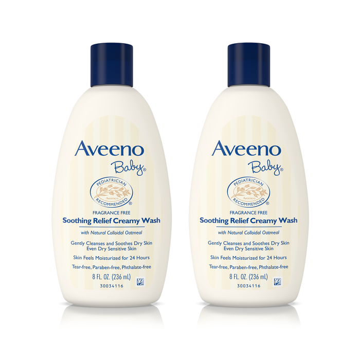 (2 Pack) Aveeno Baby Soothing Relief Creamy Wash with Natural Oatmeal, 8 fl. oz