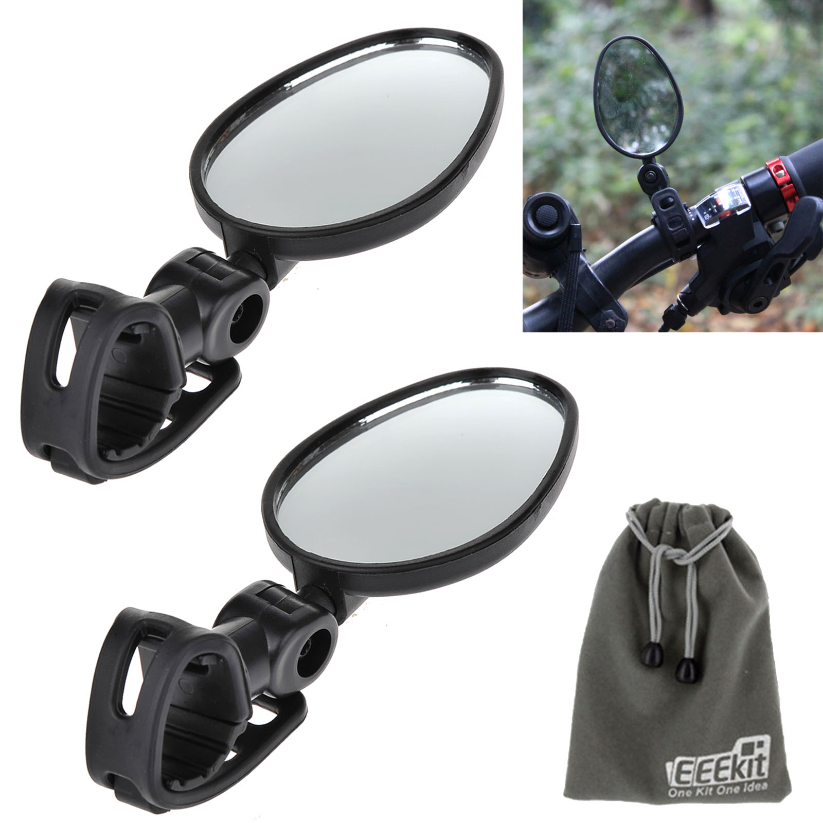 EEEKit 2 Pack Bundle Universal Mini Rotaty Rearview Handlebar Glass Mirror Bundle for Bike Bicycle Cycling